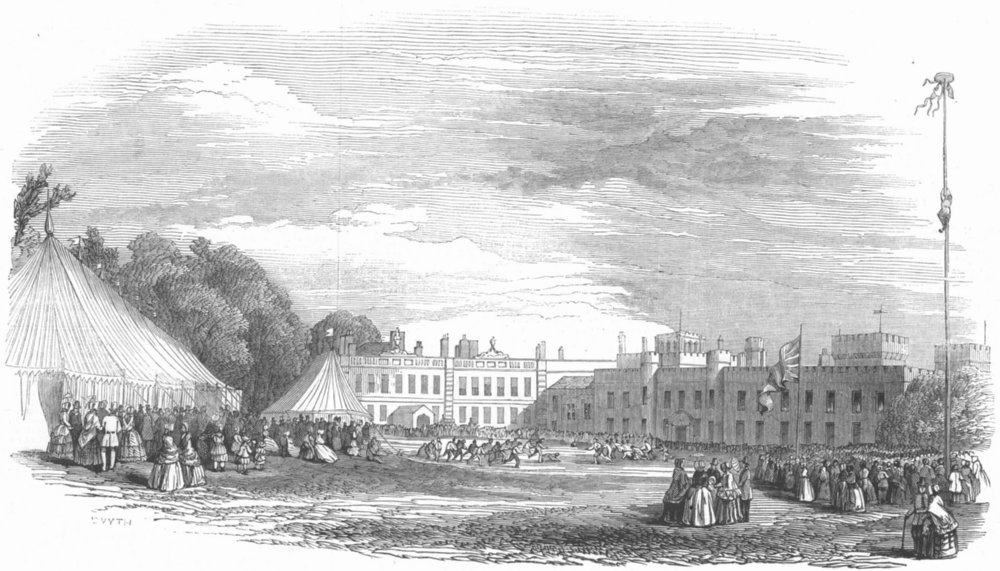 Associate Product LANCS. Festivities, Knowsley. Rustic Sports, lawn, antique print, 1847
