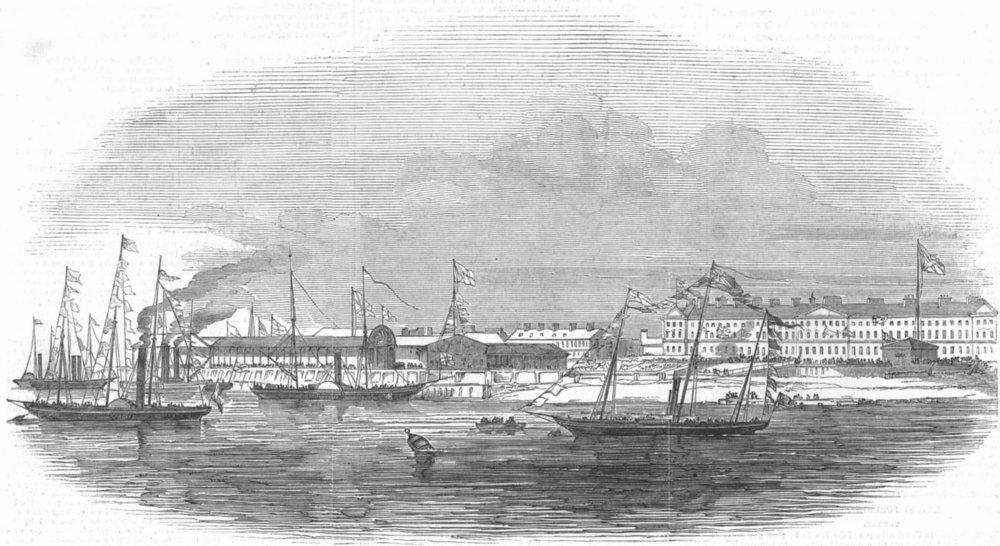 Associate Product LANCS. Royal Yachts, Anchor, Fleetwood Harbour, antique print, 1847