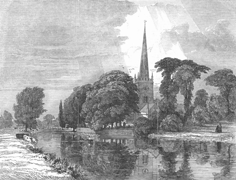 Associate Product WARCS. Church of Holy Trinity, Stratford-upon-Avon, antique print, 1847