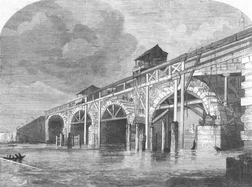 Associate Product LONDON. demolition of Westminster Bridge, antique print, 1860
