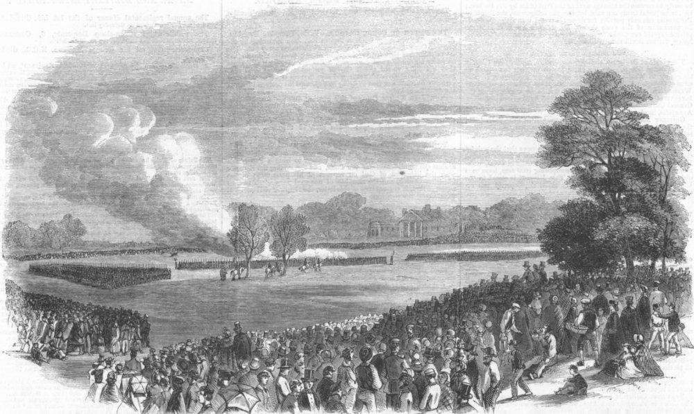 Associate Product LONDON. Volunteer field day, Regent's Park, antique print, 1861