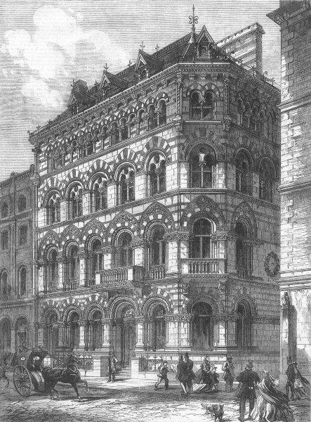 Associate Product LONDON. Crown Life Assurance Office, Fleet St, antique print, 1866