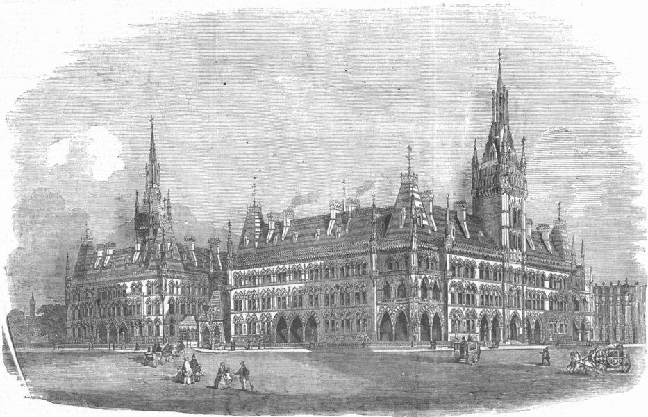 Associate Product LONDON. Prize design for war-office, antique print, 1857