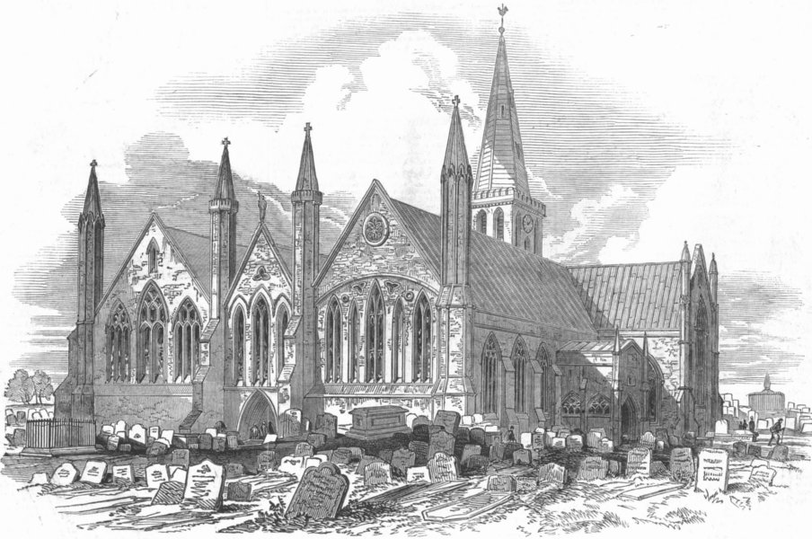 Associate Product NORFOLK. St Nicholas Church, Gt Yarmouth, antique print, 1848