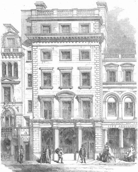 Associate Product LONDON. Fleet St-Union Bank of London, Temple-Bar, antique print, 1857