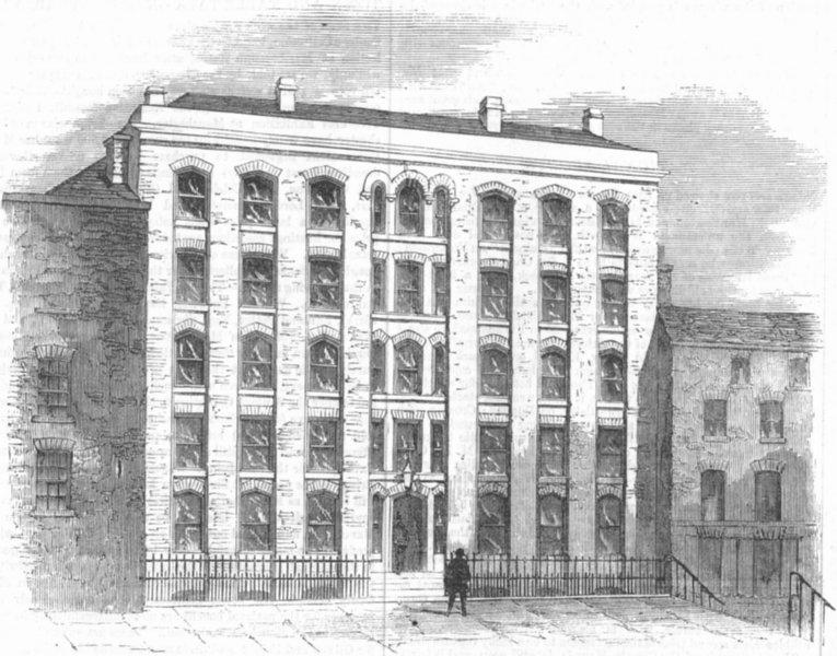 Associate Product LONDON. Strand Buildings, Eagle-Ct, antique print, 1857