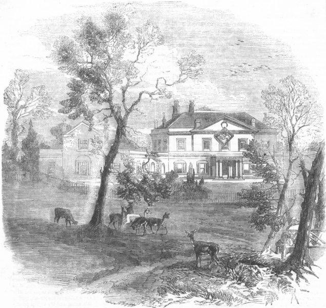 Associate Product LONDON. White Lodge(Ranger's), Richmond Park, antique print, 1858