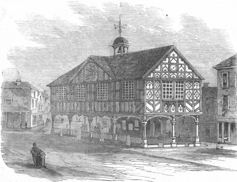 Associate Product HEREFORD. The old Townhall, Leominster, antique print, 1858
