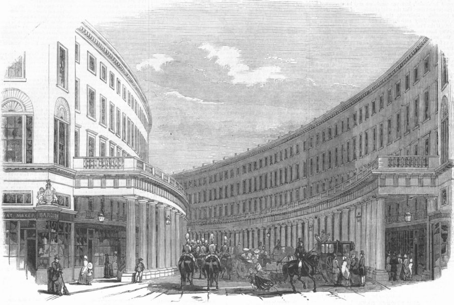 Associate Product LONDON. Regent's Quadrant. Quadrant, from Vigo St, antique print, 1848