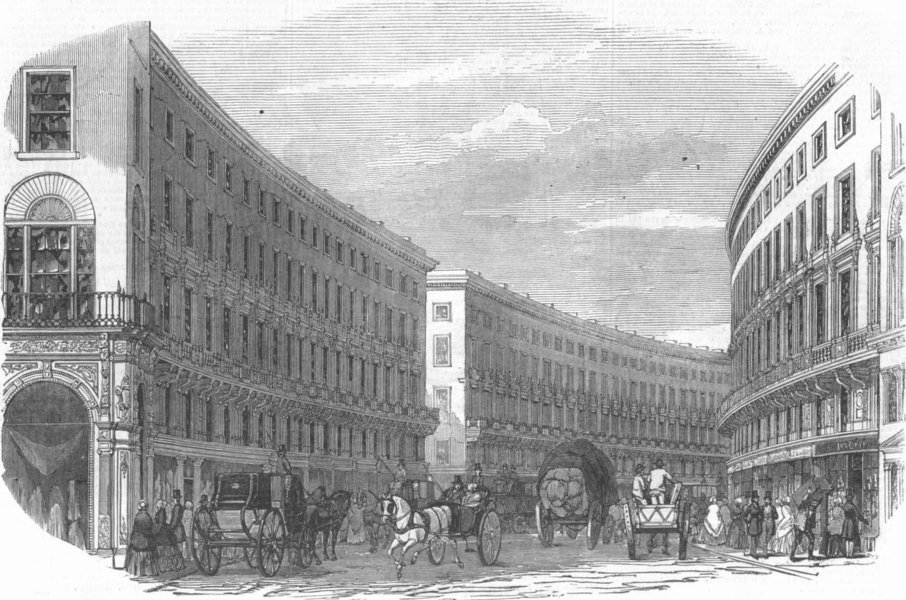 Associate Product LONDON. Regent's Quadrant from Tichborne St, antique print, 1848
