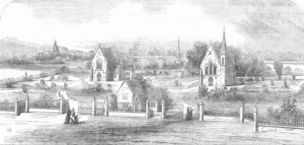 Associate Product LONDON. The Charlton Cemetery, antique print, 1857