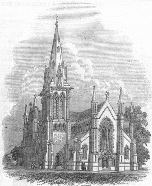Associate Product LONDON. New Church at Highbury, antique print, 1848
