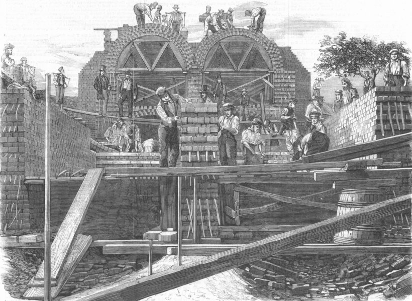 LONDON. Tunnel cross-section, Wick Lane, Old Ford, Bow, antique print, 1859
