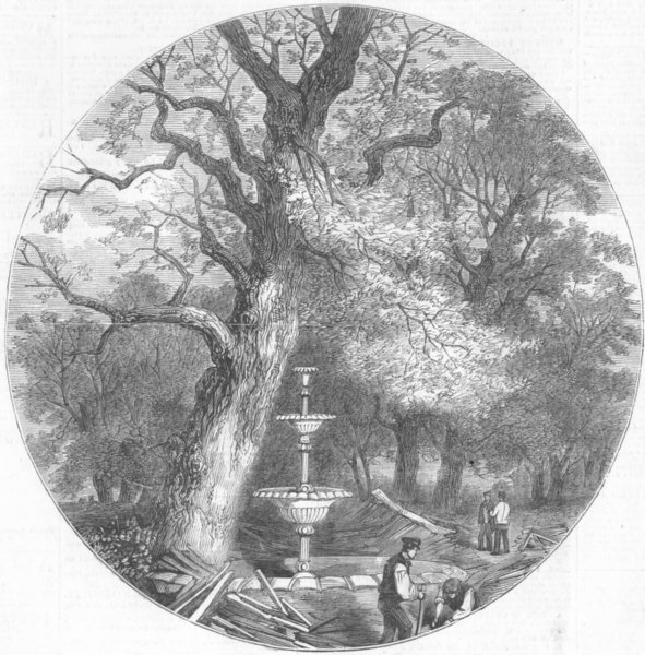 Associate Product LONDON. Crystal Palace, Hyde Park. Fountain, Transept, antique print, 1852