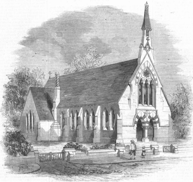 Associate Product CAMBS. Holy Trinity Chapel School, Reach, antique print, 1860
