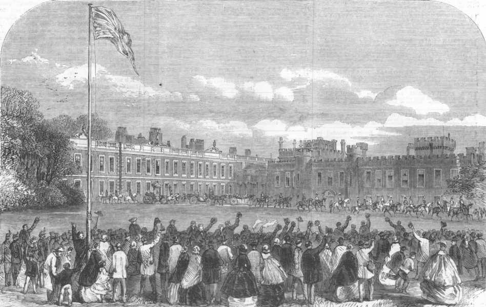 Associate Product LANCS. Earl of Derby leaving Knowsley Hall, antique print, 1860