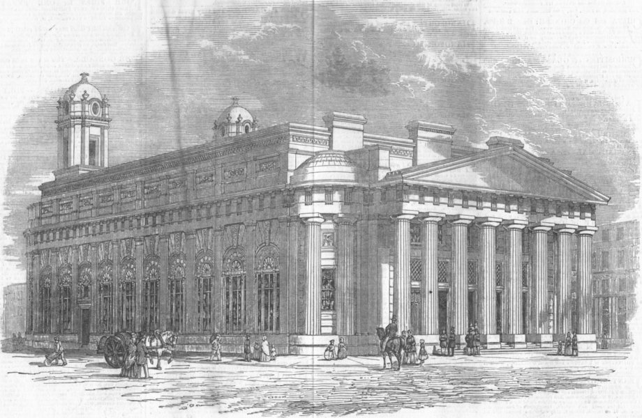 Associate Product LANCS. The new exchange, Manchester, antique print, 1849