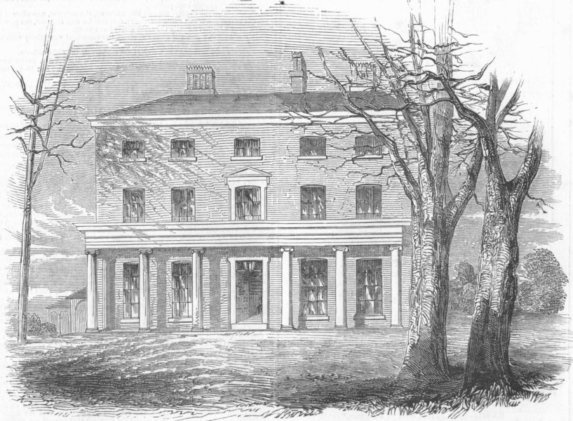 Associate Product LONDON. Asylum for Idiots, Park House, Highgate, antique print, 1849