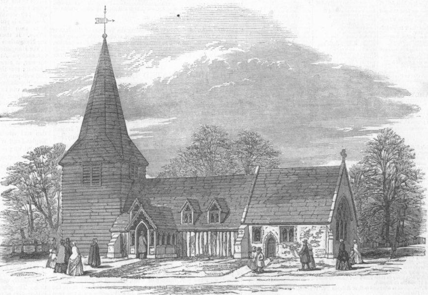 Associate Product ESSEX. Little Church, Greensted, Essex, restored, antique print, 1849
