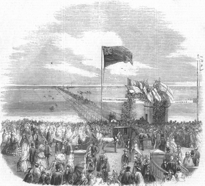 Associate Product LANCS. The opening of Southport Pier, antique print, 1860