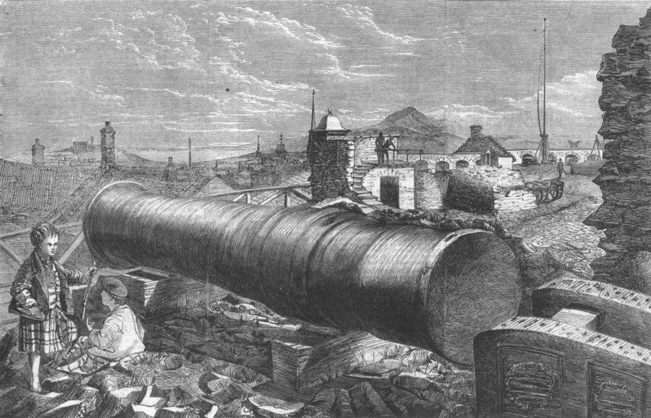 Associate Product SCOTLAND. Mons Meg, Edinburgh Castle, antique print, 1860