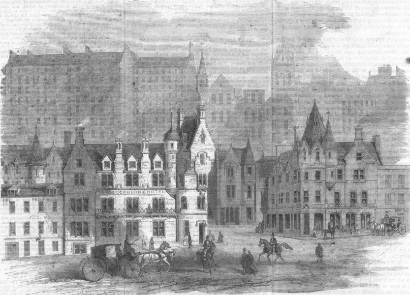 Associate Product SCOTLAND. Cockburn-Street, Edinburgh, antique print, 1861