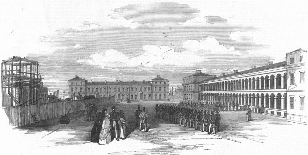 Associate Product LONDON. new royal Marine Barracks, Woolwich, antique print, 1848