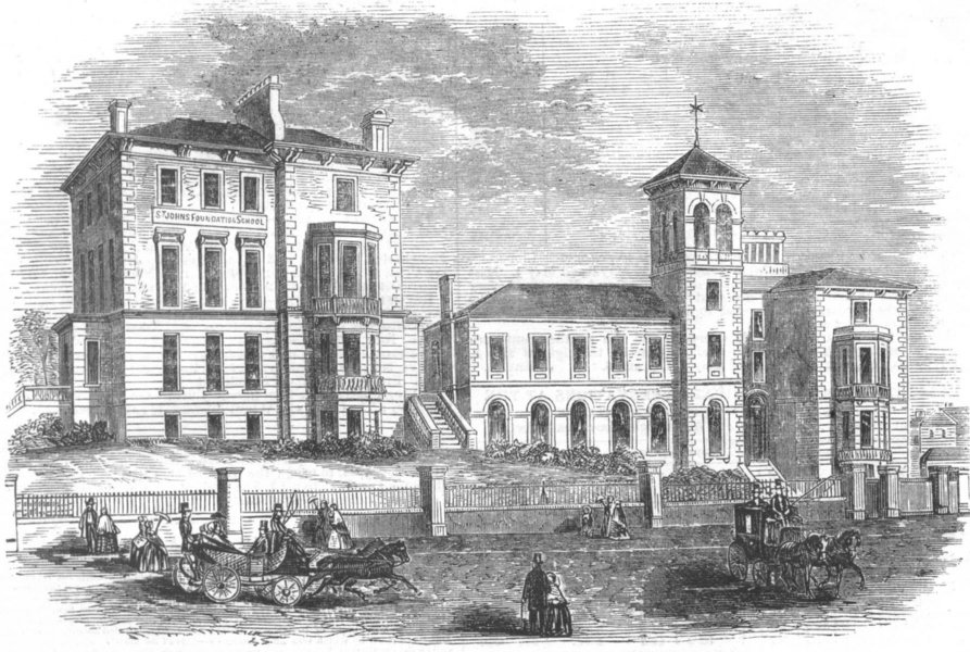 Associate Product LONDON. St John's Foundation School, Kilburn, antique print, 1857