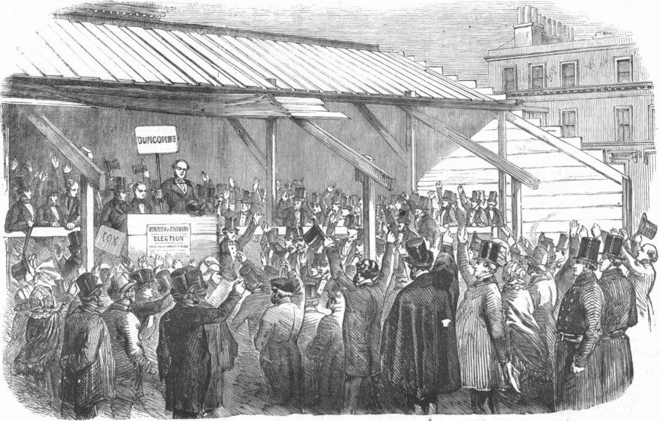 Associate Product LONDON. Finsbury Election. Clerkenwell hustings, antique print, 1857