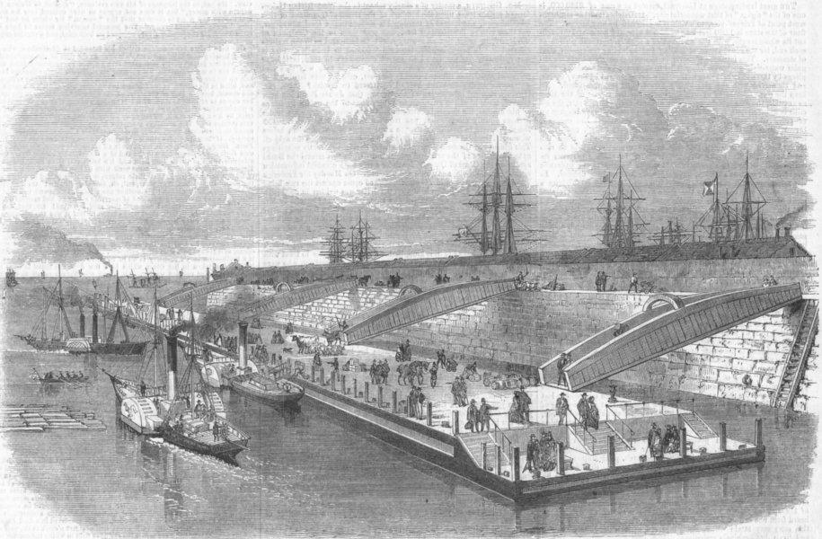 Associate Product LANCS. new Landing-Stage, Liverpool, antique print, 1857