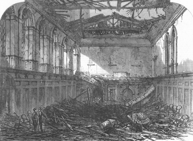 Associate Product LONDON. Gt fire, city. Ruins of Haberdashers Hall, antique print, 1864