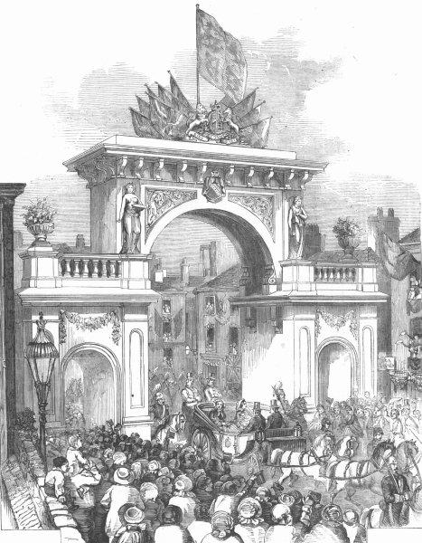 Associate Product LANCS. Triumphal Arch, Albert Bridge, Manchester, antique print, 1857