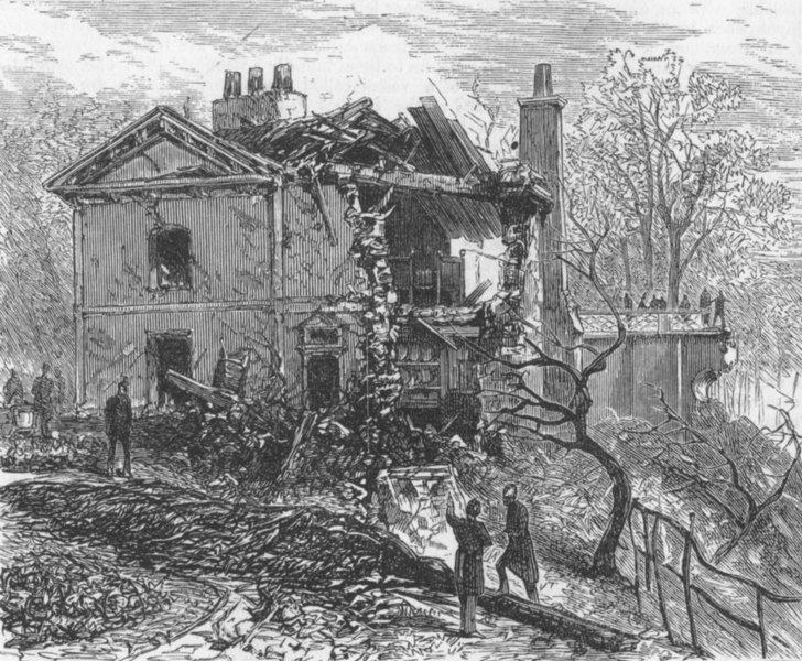 Associate Product LONDON. Regent's Canal explosion. Park-Keeper house, antique print, 1874