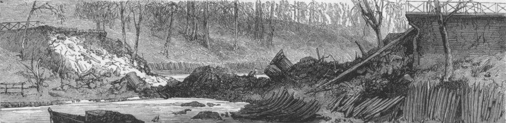 Associate Product LONDON. Regent's Canal explosion, fallen bridge, antique print, 1874