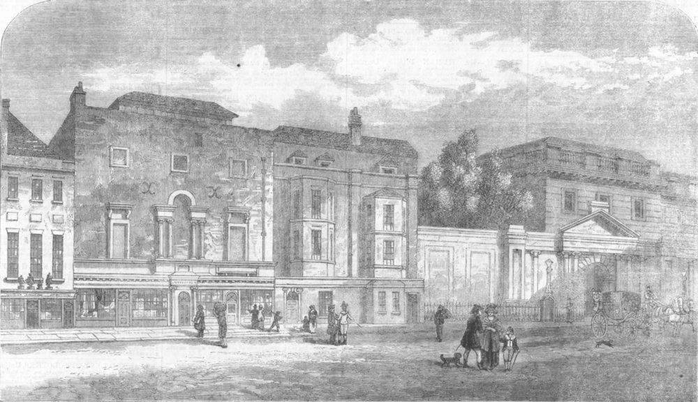LONDON. Royal Academy, Pall Mall, antique print, 1861