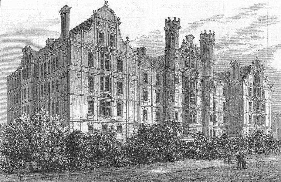 Associate Product LONDON. New Building, Brompton TB Hospital, antique print, 1882