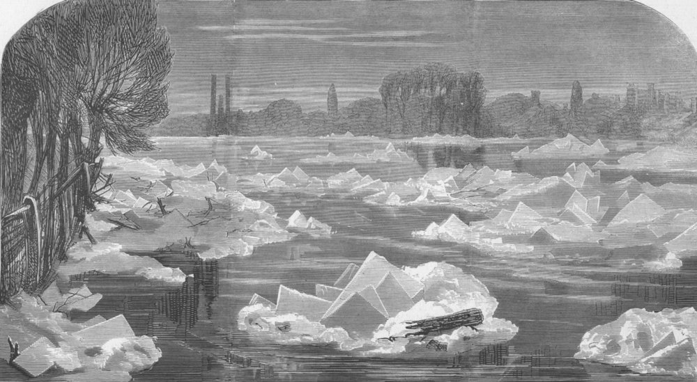 Associate Product LONDON. Ice, Thames nr Chiswick, antique print, 1870