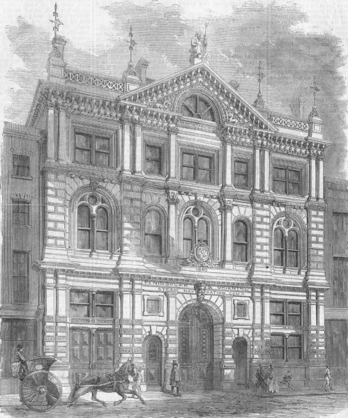 Associate Product LONDON. P&O offices, antique print, 1859