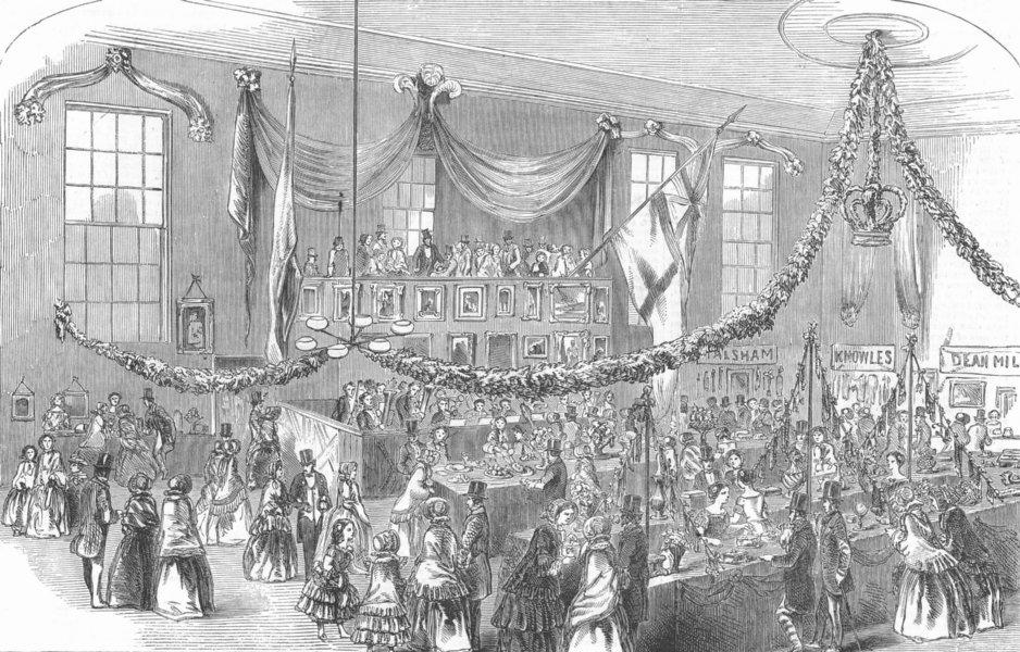 Associate Product LANCS. Exhibition, Temperance Hall, Bolton, antique print, 1852