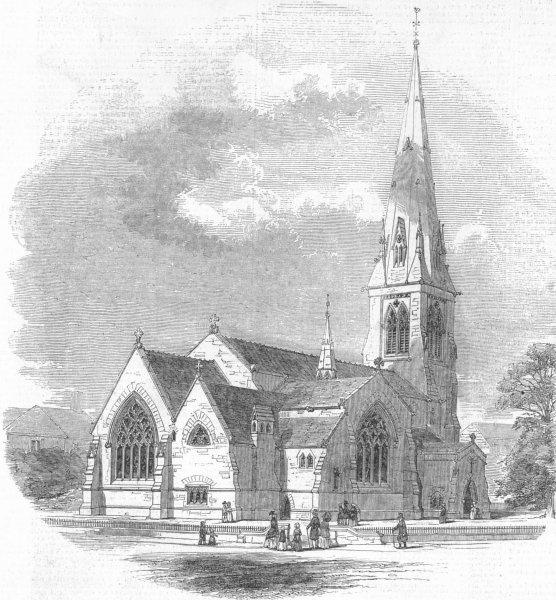 Associate Product LONDON. New Church of St Paul, Camden Sq, antique print, 1848