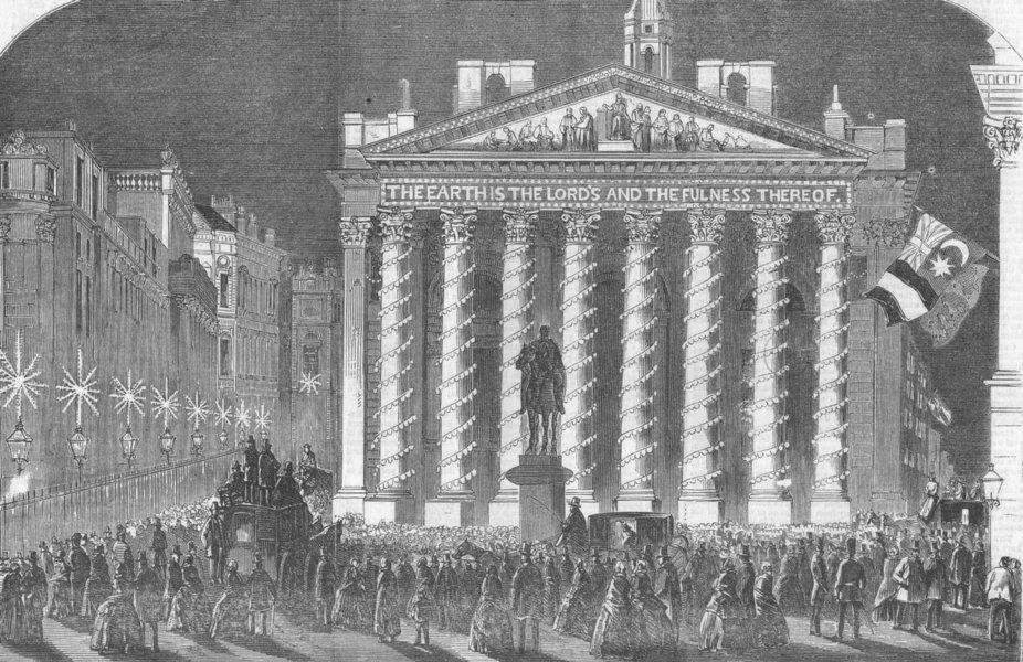 Associate Product LONDON. Illumination of Royal Exchange, antique print, 1856
