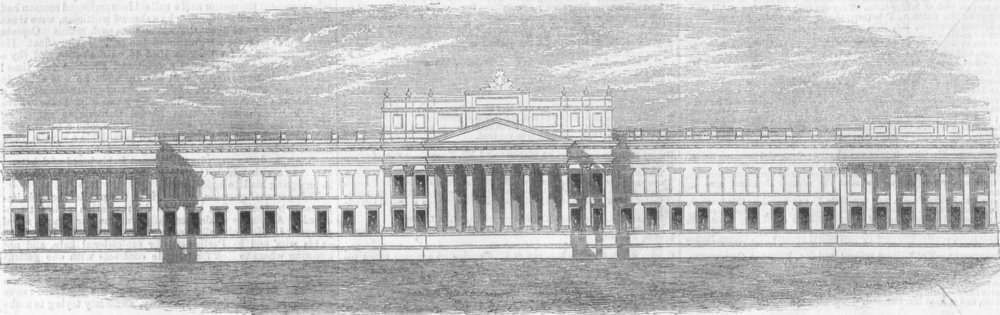 Associate Product LONDON. Planned alteration of National Gallery, antique print, 1859