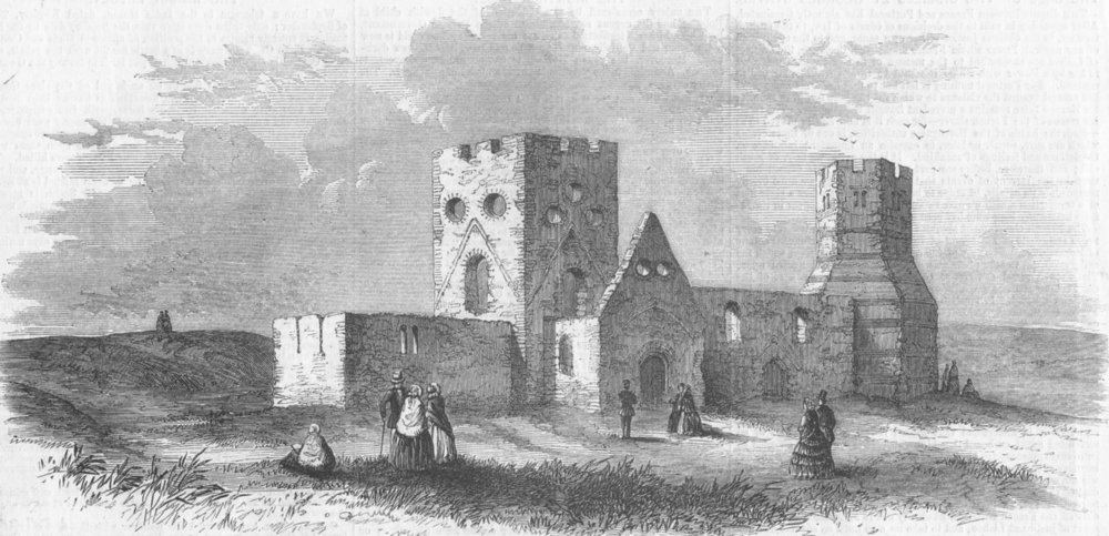 Associate Product KENT. Church of St Mary, castle, Dover(View), antique print, 1858