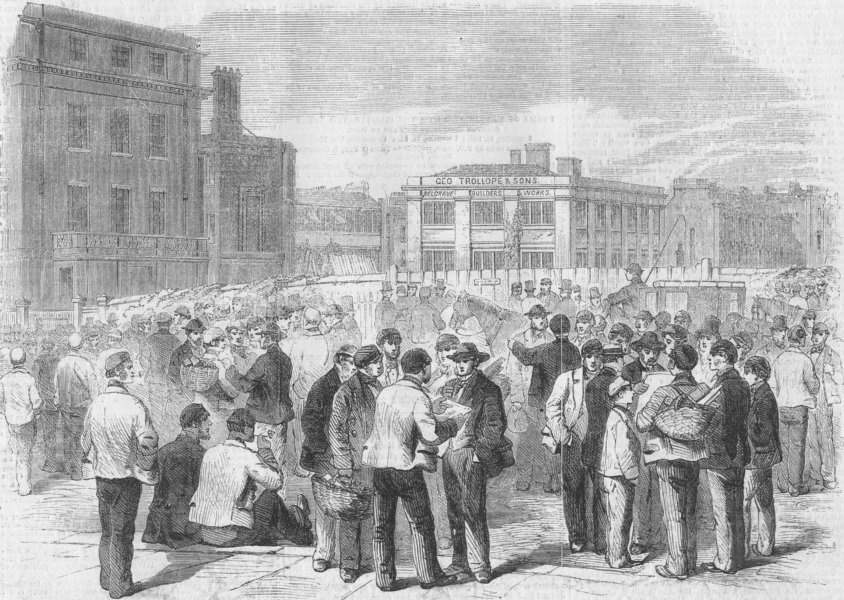 Associate Product LONDON. Strike, Trollope & Son's works, antique print, 1859