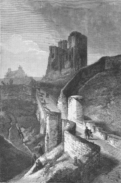 Associate Product YORKS. Scarborough Castle, antique print, 1871