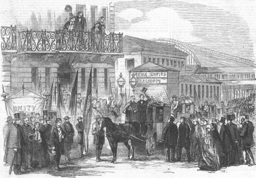 Associate Product LONDON. Neapolitan Exiles, Paddington Station, antique print, 1859