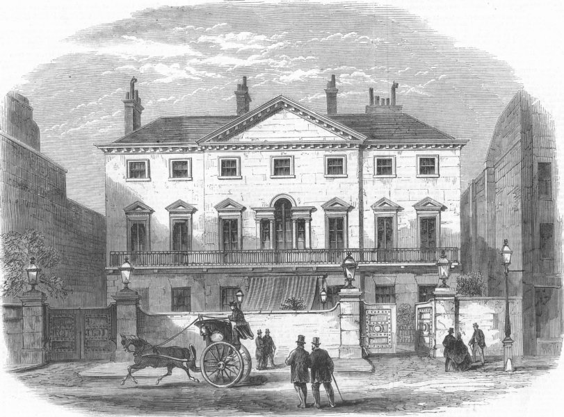 Associate Product LONDON. Cambridge House, Piccadilly(Lord Palmerston), antique print, 1865