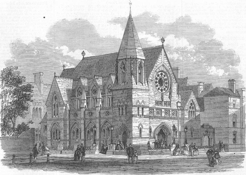Associate Product LEICS. Wesleyan Chapel, Humberstone Gate, Leicester, antique print, 1863