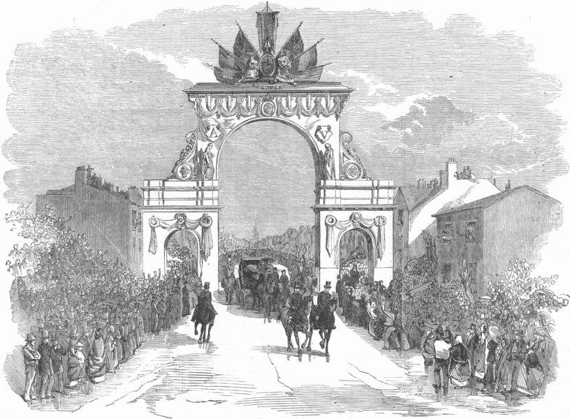 Associate Product LANCS. Triumphal Arch, Stretford Rd, Manchester, antique print, 1857