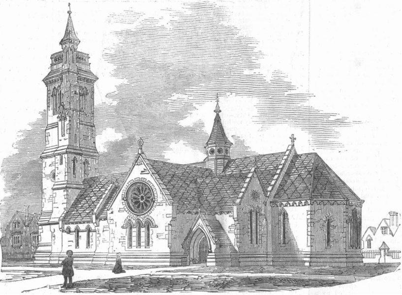 Associate Product DURHAM. New Church, West Hartlepool, antique print, 1854